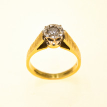 18k Yellow Gold Engagement Ring with Illusion UK Ring Size L BHS - $841.78