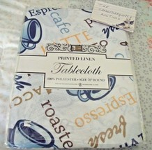 """NEW COFFEE CUP TABLECLOTH 70"""" Round Fabric LATTE Espresso Cups Blue & White - $14.46"""