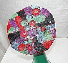 22 INCH BAND BERET PERCHER HAT ETHNIC HIPPY FESTIVAL MULTICOLOURED WITH ... - $17.49