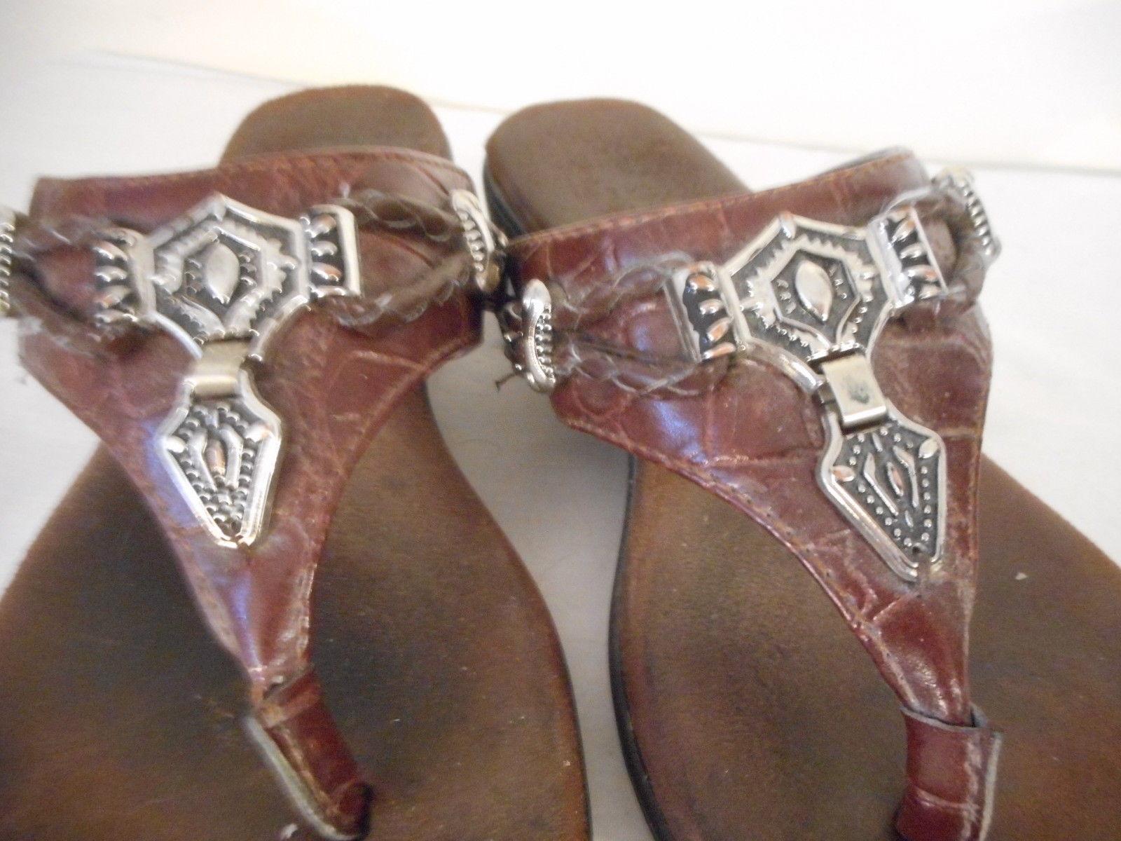 Brown Leather Flip Flop Sandal 6.5 M