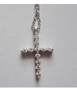 18k White Gold Diamond Mini Cross Pendant Necklace  - $192.56 CAD