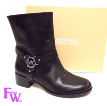 New MICHAEL KORS Size 7 TURNER Black Leather Moto Boots - $139.00