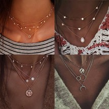 Bohemian Gold Color Multi layer Choker Necklace 2019 for Women Short Cry... - $11.84