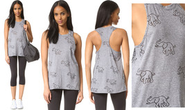 Terez Women's Elephant Burnout Racerback Muscle Tank Top, Grey-Trunks Up-809
