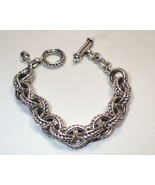 David Wysor Heavy Interlocking Rope Link Sterling Silver Toggle Bracelet... - $233.74