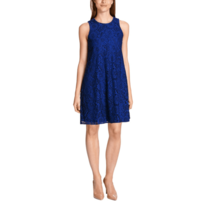 Tommy Hilfiger Lace Shift Dress Blue Floral Sleeveless Party Preppy Wome... - $24.75