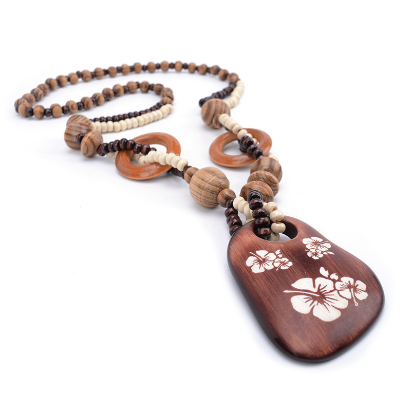 MANXIUNI Wood American flower Long Sweater Chain Pendant Necklace Women Office L