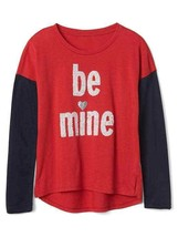 Gap Kids Girls T-shirt 6 7 8 Navy Red Colorblock Long Sleeve Crew Love G... - $17.95