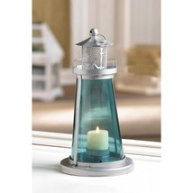 BLUE GLASS WATCH TOWER CANDLE LAMP - $20.00