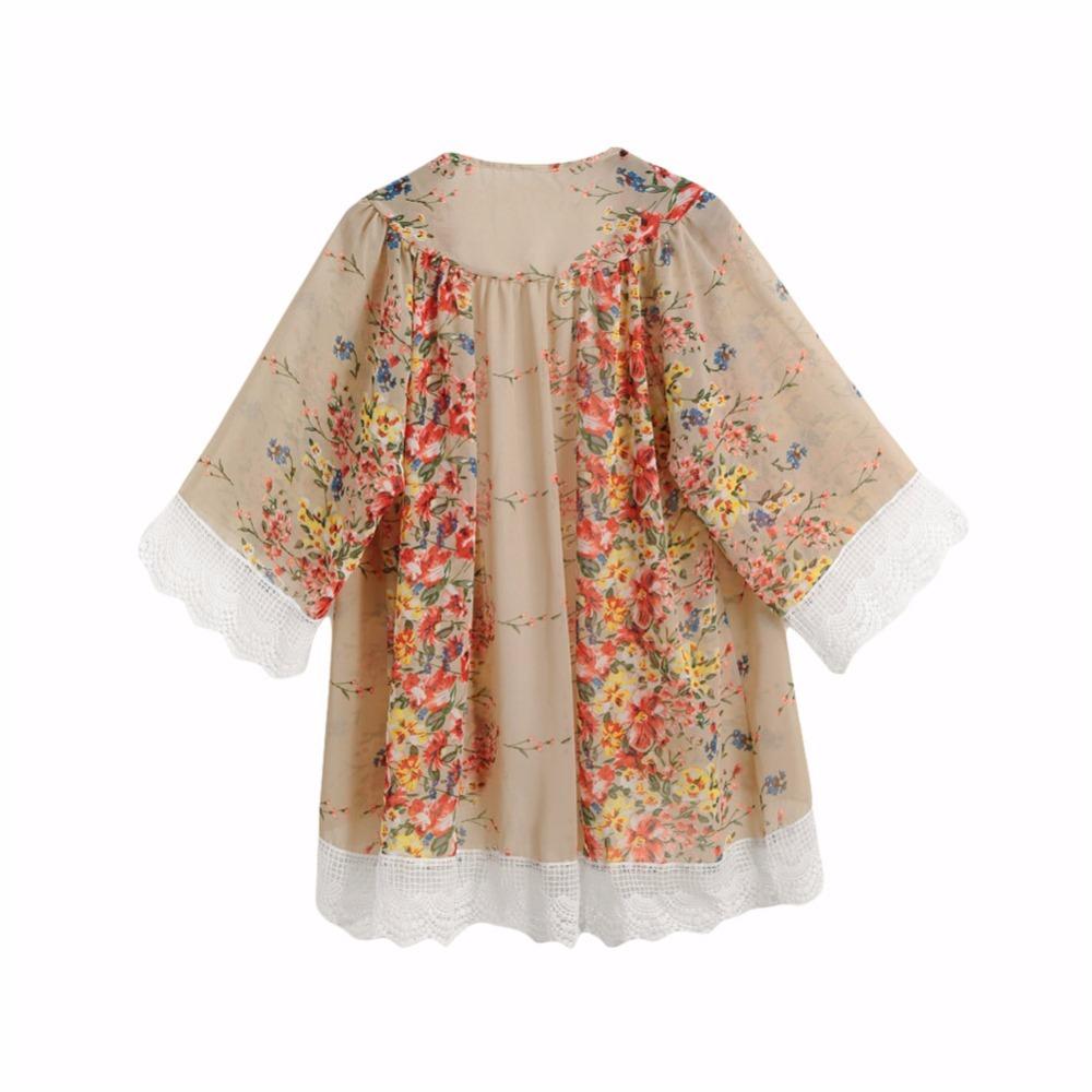 Chiffon Blouse Women Printed Kimono Cardigan 2018 Fringed Hem Lace Shawl Oversiz