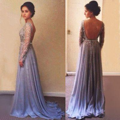 long sleeves Prom Dresses,backless prom dress,charming prom Dress,prom dresses