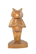 Meditating Yoga Kitty Statue Hand Painted Carved Wood Praying Cat Kitten... - $24.69