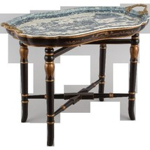 FABULOUS BLUE & WHITE PORCELAIN BLUE WILLOW TRAY TABLE ON BLK GLD WOOD S... - €609,65 EUR