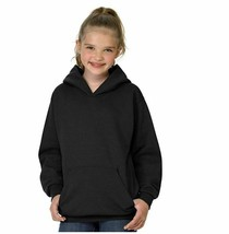 Hanes - Unisex OP473 Big Eco Smart Fleece Pullover Hood-Black Youth Larg... - $12.19