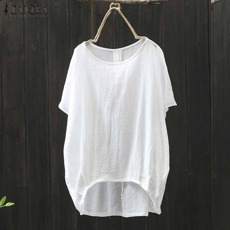 2018 Summer Fashion ZANZEA Women Solid Short Sleeve Loose Blouse Casual O Neck C
