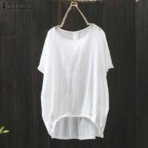2018 Summer Fashion ZANZEA Women Solid Short Sleeve Loose Blouse Casual O Neck C - $30.51+