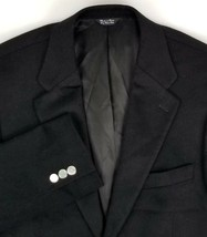 PBM Cashmere Blazer Mens Size 40 Regular Two Button Black + Silver Tone ... - $39.56
