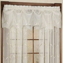 """Croscill Cavalier Sheer Federal Valance, 75""""x13"""" Ivory Embroidered Fleur... - $44.43"""