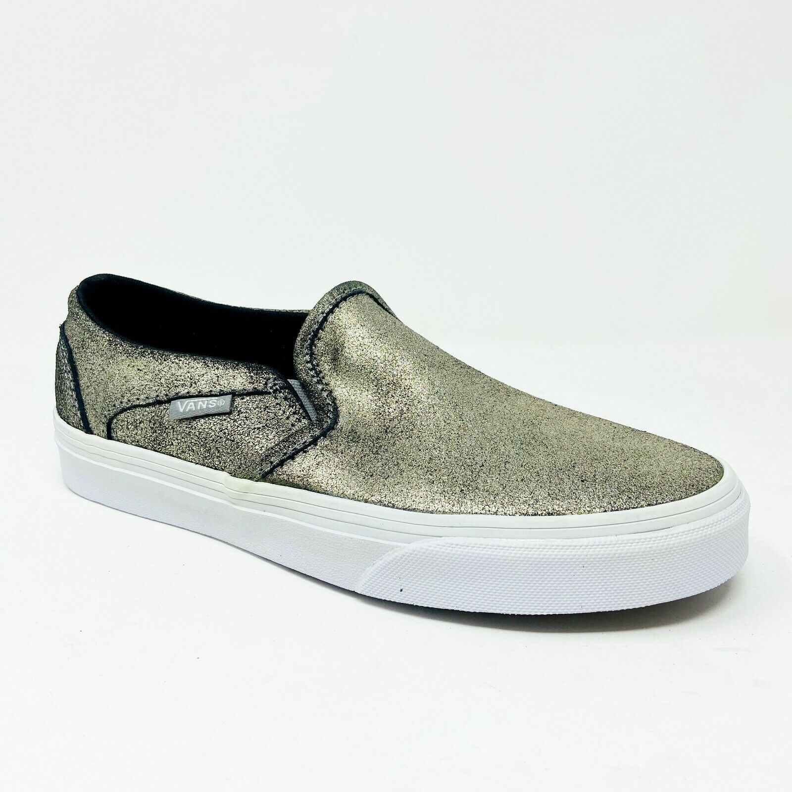 Vans Asher (Metallic) Gold White Womens Classic Slip On Laceless Sneakers - $49.95