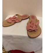 BOC Born Concept Pink Leather Flower Thong Sandals Flip Flops Sz 8 BC062... - $19.95