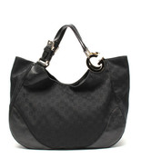 Auth GUCCI GG Supreme Shoulder Hand Bag Black Canvas Inner Pockets G451 - $677.16