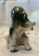 "Vintage Beagle Type Dog Figurine Porcelain Japan Grey White5"" Tall image 2"