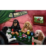Home of Cocker Spaniels 4 Dogs Playing Poker Art Portrait Print Woven Th... - $88.11