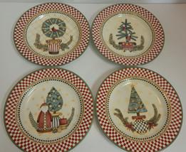 "Sakura TOPIARY 8"" Salad Dessert Plate Set 4Pc Christmas 1998 Debbie Mumm... - $32.62"