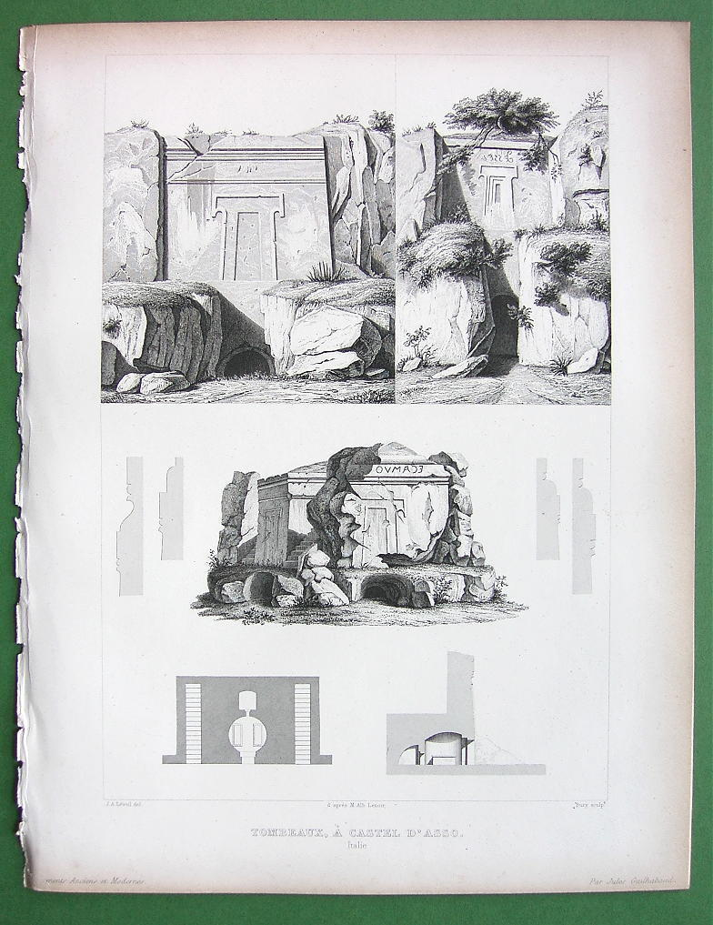 Primary image for ARCHITECTURE PRINT 1850: ITALY Viterbo Etruscan Tombs at Castel D'Asso
