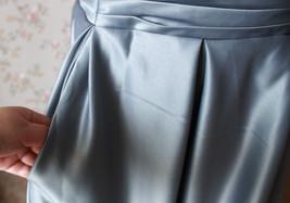 GRAY Taffeta Skirt Women High Waist Taffeta Skirt Maxi Party Prom Skirt Custom image 4