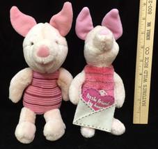 Disney Piglet Plush Stuffed Animal Toy Lot 2 Little Friend Big Heart Winnie Pooh - $12.86