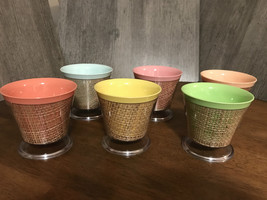 Raffia Encased Ice Cream Bowls Melamine Set of Six - $34.94