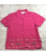 Alfred Dunner Plus Size Women's Pink Button Front Picnic Themed Shirt Si... - $12.59