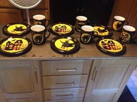 6 Certified International Halloween Plates and 6 Halloween Cups - $86.85