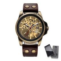 SHENHUA 2018 Vintage Bronze Watch Steampunk Skeleton Mechanical Male Clock Autom image 2