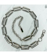 Silver Tone Open Rectangle Bar Belly Body Chain Link Belt One Size OS 29... - $13.95