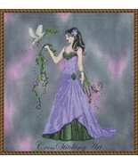 """QUEEN OF EARTH"" COMPLETE XSTITCH MATERIALS with 16 Count  hand dyed Aida - $64.34"