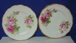 "Lot Of 2 American Beauty Royal Albert China 7 1/8"" Pie Dessert Plates England - $24.24"