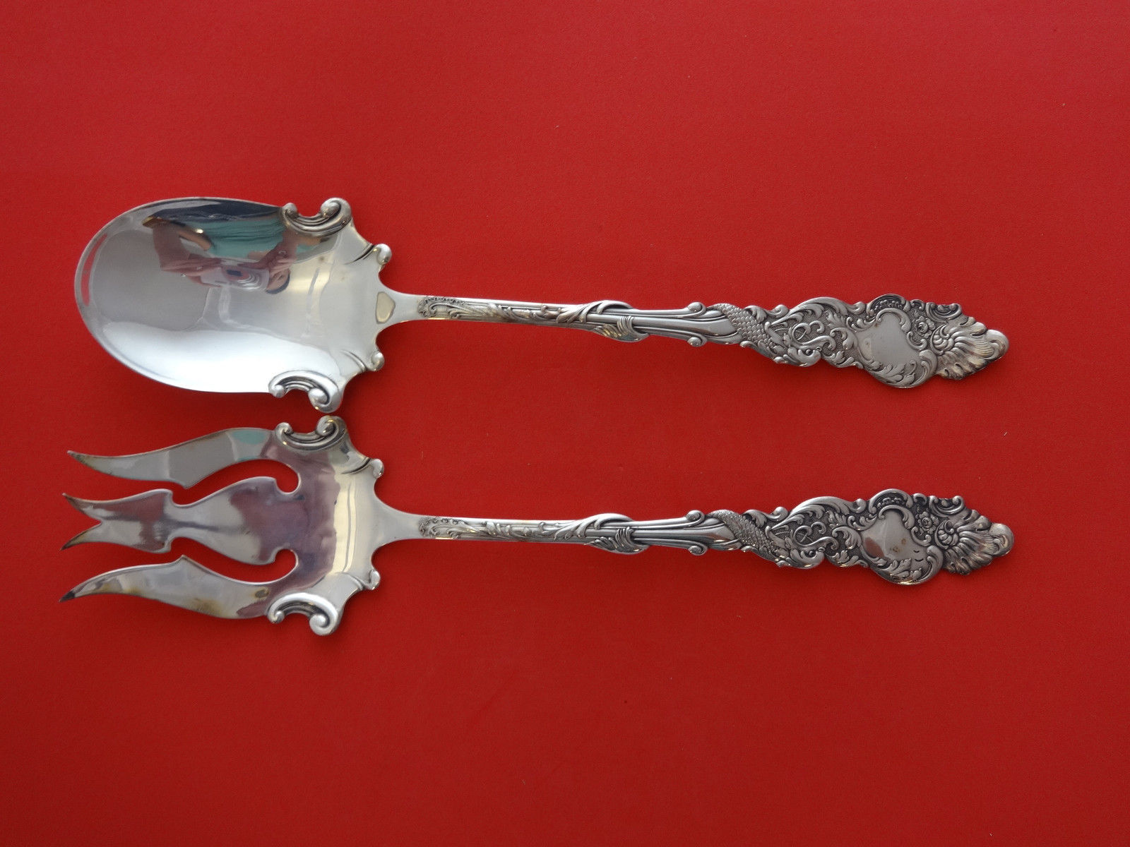 Primary image for Columbia by 1847 Rogers Plate Silverplate Salad Serving Set 10 1/4""