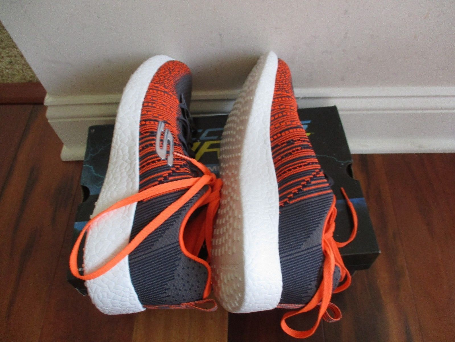 "BNIB Skechers® Energy Burst ""In The Mix"" Sport Shoes, Men, Grey/orange, $90"
