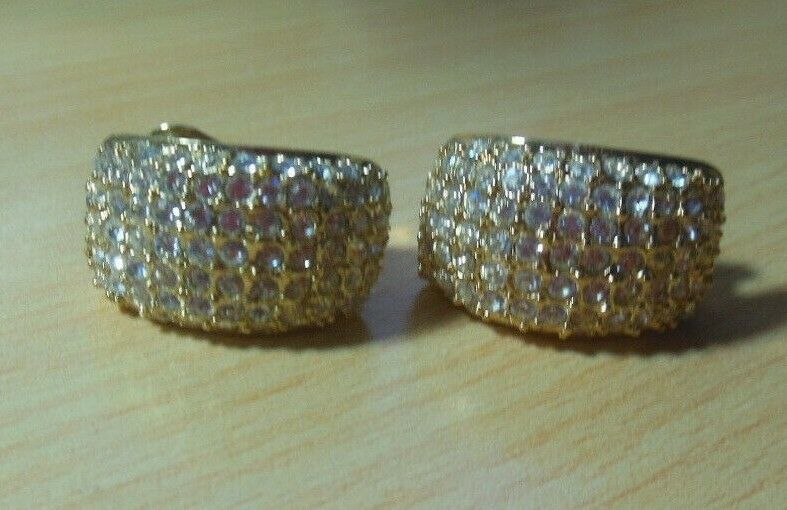 Primary image for Vintage Signed ROMAN Gold-tone Clear Pave Crystal Clip-on Earrings