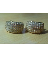 Vintage Signed ROMAN Gold-tone Clear Pave Crystal Clip-on Earrings - $24.50