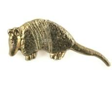 "Long Nose Armadillo Gold Tone Lapel Pin 1.5"" x .5"" Texas State Animal  - $12.59"
