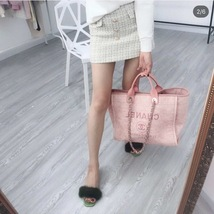 AUTHENTIC CHANEL LIGHT PINK RED CANVAS LARGE DEAUVILLE 2 WAY TOTE BAG  image 8