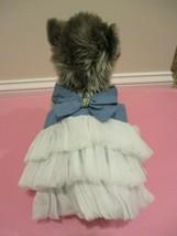 Denim Dress Small Pets Bow Tulle Skirt Fancy Tutu Wedding Holiday Puppy ... - $12.95