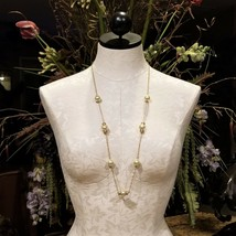 """J. Crew Gold Pearl Swarovski Crystal Accented Statement Necklace 36"""" - $59.95"""