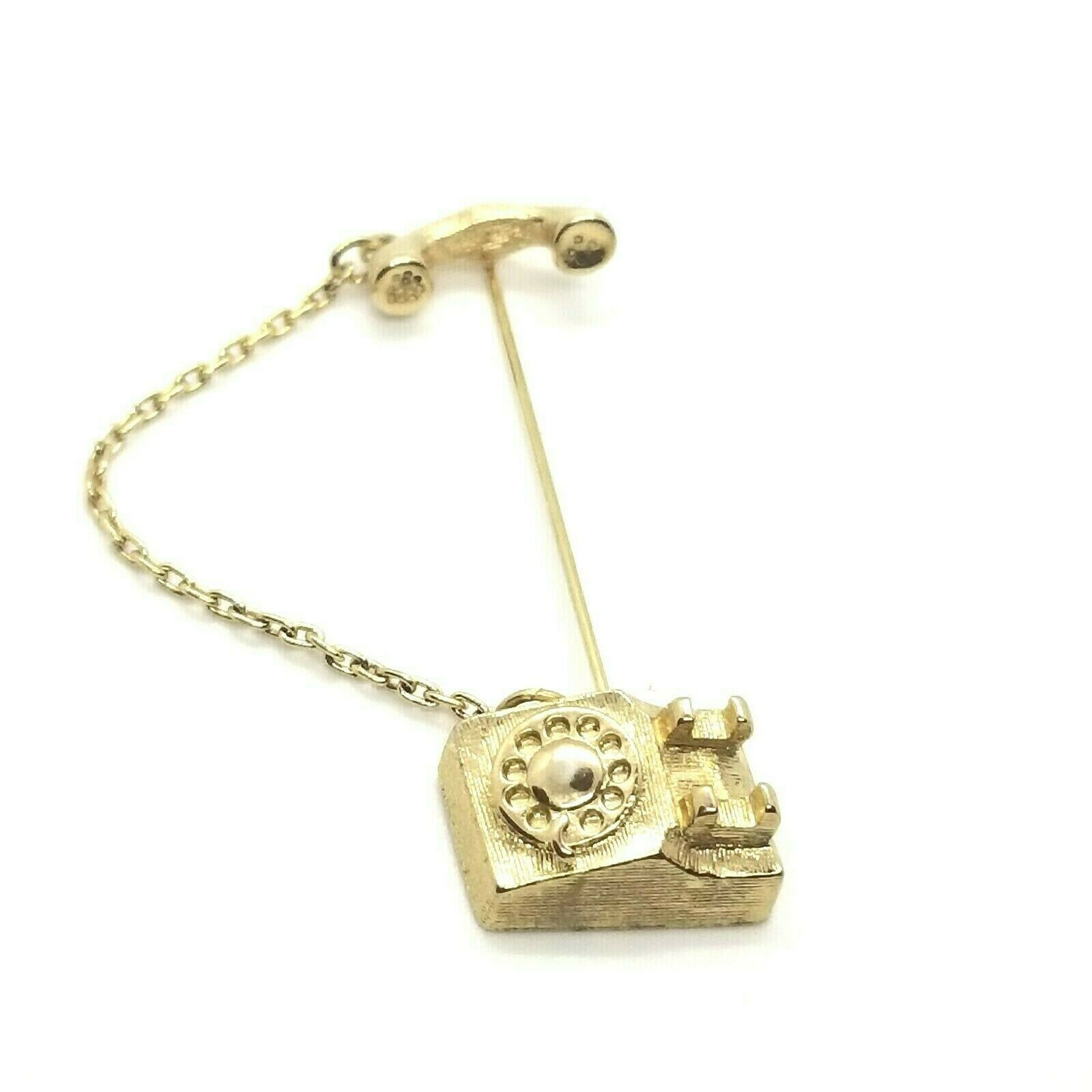 Primary image for Vintage Avon Fashion Jewelry Gold Tone Rotary Telephone Stick Pin