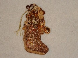 Danbury Mint Gold Plated Ornament Christmas Stocking Filled with Toys Da... - $14.84