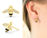 Adorable Honey Bee Studs Earrings 14K Yellow Gold Plated Tiny Honeybee Bumble Be - $66.60