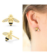 Adorable Honey Bee Studs Earrings 14K Yellow Gold Plated Tiny Honeybee B... - $66.60